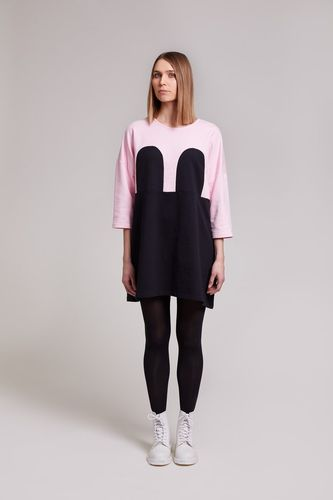 R/H Mickey Square Dress Baby Pink/Black