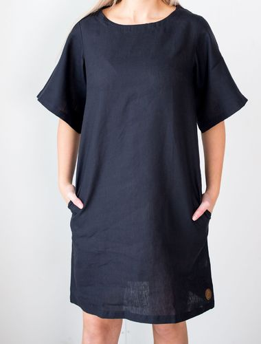 Blaa Manhattan Zipper Dress Black Linen