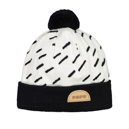 Papu Pom Pom Wool Beanie Windy Day Cream/Black