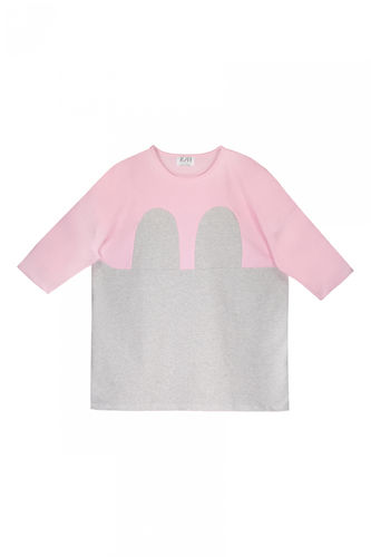 R/H Mickey Square Dress Kids Baby Pink/ Light Grey