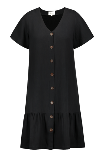 Kaiko Frill Button Dress Black